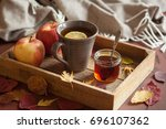 hot lemon honey tea warming... | Shutterstock . vector #696107362