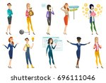business woman  stewardess ... | Shutterstock .eps vector #696111046