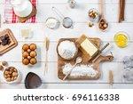 baking ingredients in rural...   Shutterstock . vector #696116338