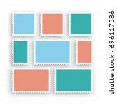a set of postage stamps vintage ... | Shutterstock .eps vector #696117586