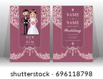 wedding invitation card... | Shutterstock .eps vector #696118798