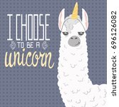 cute cartoon lama alpaca with... | Shutterstock .eps vector #696126082