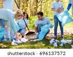 volunteering  charity  people... | Shutterstock . vector #696137572