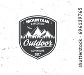 mountain expedition badge.... | Shutterstock .eps vector #696139765