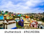 view over colerful cemetery of... | Shutterstock . vector #696140386
