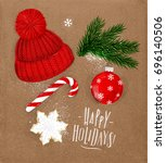 christmas theme symbols biscuit ... | Shutterstock .eps vector #696140506