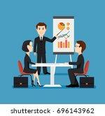 businessman holds an economic... | Shutterstock .eps vector #696143962