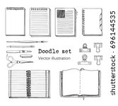 vector set of sketch notebooks  ... | Shutterstock .eps vector #696144535