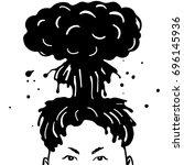 nuclear haircut. black mushroom ... | Shutterstock .eps vector #696145936