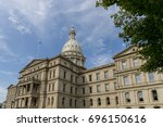 the michigan state capitol is... | Shutterstock . vector #696150616