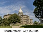the michigan state capitol is... | Shutterstock . vector #696150685