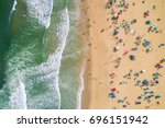 aerial view of a crowded beach... | Shutterstock . vector #696151942