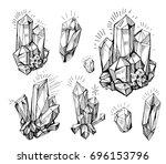 set of cristals.  hand drawn... | Shutterstock .eps vector #696153796