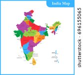 the detailed map of the india... | Shutterstock . vector #696155065