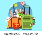 tourism with famous world... | Shutterstock .eps vector #696159022