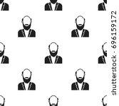gray beard icon black. single... | Shutterstock . vector #696159172