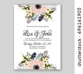 anemone wedding invitation card ... | Shutterstock .eps vector #696161905