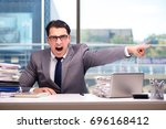 angry businessman with too much ... | Shutterstock . vector #696168412
