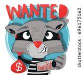 funny cartoon  cute bandit... | Shutterstock .eps vector #696175162