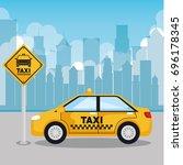taxi service app smart...   Shutterstock .eps vector #696178345