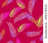 pattern exotic palm vector... | Shutterstock .eps vector #696178522