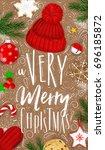 christmas poster lettering a... | Shutterstock .eps vector #696185872