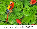 jungle leaves and parrot ... | Shutterstock .eps vector #696186928