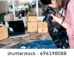 online seller owner take a... | Shutterstock . vector #696198088