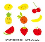 cartoon fruits  a set of funny... | Shutterstock .eps vector #69620122