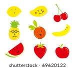 cartoon fruits  a set of funny...   Shutterstock .eps vector #69620122