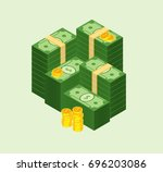 set of money banknotes and coin.... | Shutterstock .eps vector #696203086
