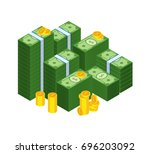 set of money banknotes and coin.... | Shutterstock .eps vector #696203092