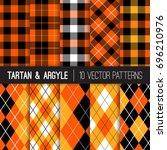halloween orange  black and... | Shutterstock .eps vector #696210976