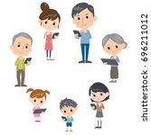 family three generations... | Shutterstock .eps vector #696211012