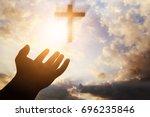 human hands open palm up... | Shutterstock . vector #696235846