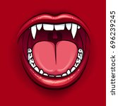 the fangs of a vampire. red... | Shutterstock .eps vector #696239245