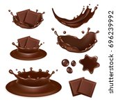 vector set of chocolate form... | Shutterstock .eps vector #696239992