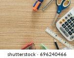 stationery put on desk free...   Shutterstock . vector #696240466