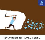 person worker digging and... | Shutterstock .eps vector #696241552