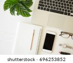 flat lay woman workplace with... | Shutterstock . vector #696253852
