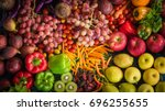top view of fresh fruits and... | Shutterstock . vector #696255655