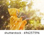 happy funny child under the...   Shutterstock . vector #696257596