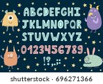 hand drawn alphabet with cute... | Shutterstock .eps vector #696271366