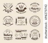 monochrome vector set of bakery ... | Shutterstock .eps vector #696273742