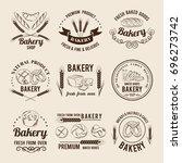 monochrome vector set of bakery ... | Shutterstock .eps vector #696273742