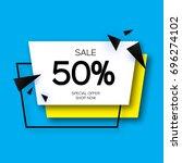 modern paper cut geometric sale ... | Shutterstock .eps vector #696274102