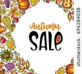 vector autumn harvest festival... | Shutterstock .eps vector #696284038