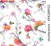 vintage seamless pattern  bird  ... | Shutterstock .eps vector #696288922