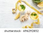 composition with ginger tea and ... | Shutterstock . vector #696292852