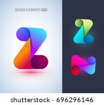abstract letter z and n icon in ... | Shutterstock .eps vector #696296146